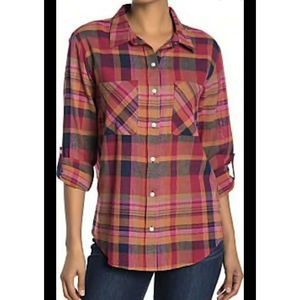 Sanctuary Girlfriend Plaid Blouse XS Roll Tab NEW
